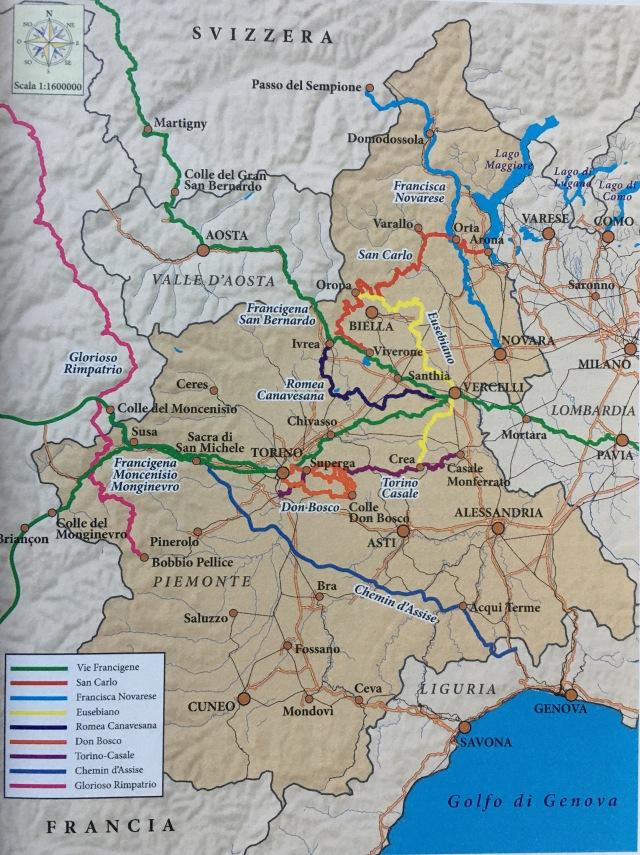 La Cartina Del Piemonte.Cammini In Piemonte Cammini E Pellegrini Dell Alto Piemonte